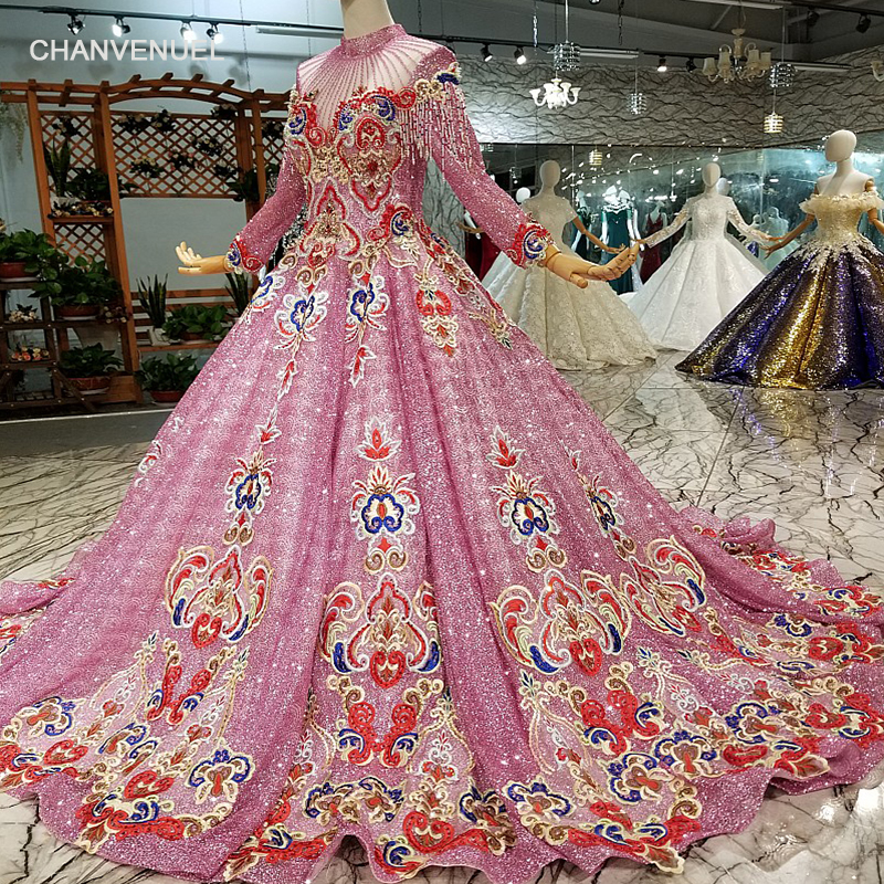 LS147454 color muslim A line evening dress with sweep train long sleeve high neck dubai women occasion dress with brush train