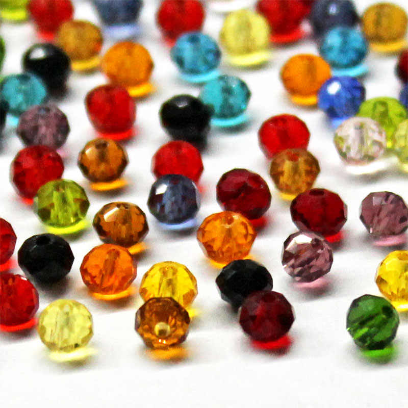 4mm 6mm Czech Rondelle Spacer Crystal Glass Beads For Jewelry Making Faceted  Color Clear Diy Beads Loose Wholesale