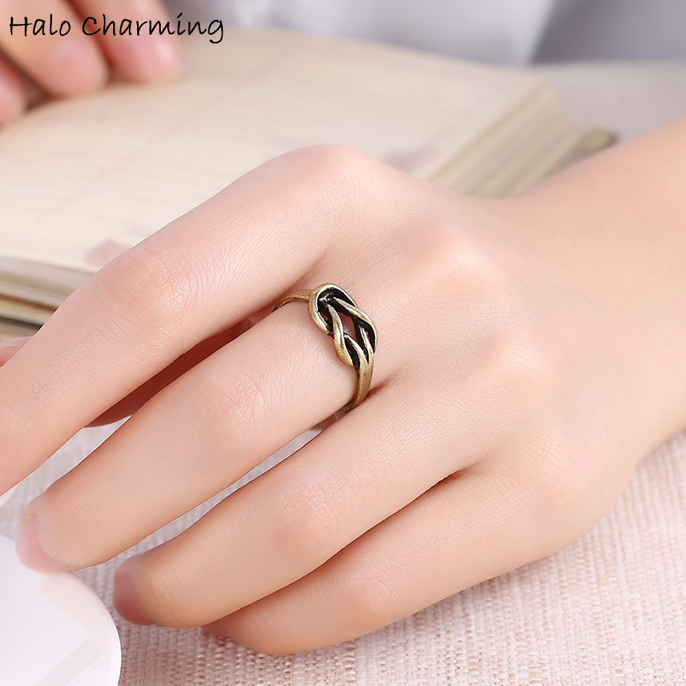 1 Piece Bronze Tone Hollow Knot Round Rings Decoration Hot Sale ...