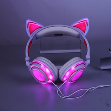 Foldable Flashing Glowing cat Ear Headphones Gaming Headset Earphone with LED Light for PC Laptop Computer Mobile Phone N все цены