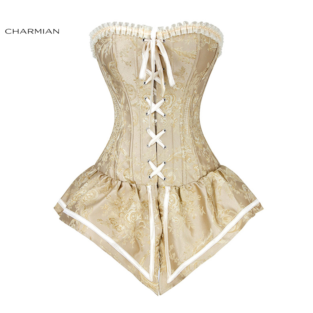 48f16f6a82 Detail Feedback Questions about Charmian Women s Sexy Retro Corset Royal  Yellow Overbust Corset Top Corsets and Bustiers Waist Cincher Trainer on ...
