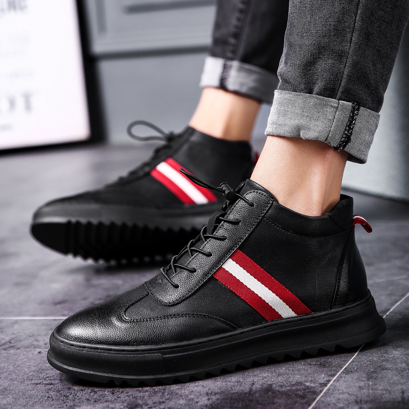 New Autumn Winter Fashion High Top Casual Shoes For Men Leather Lace Up Black Color Mens Casual Shoes Men High Top Shoes KX5 потолочная люстра demarkt city альфа 10 324014205
