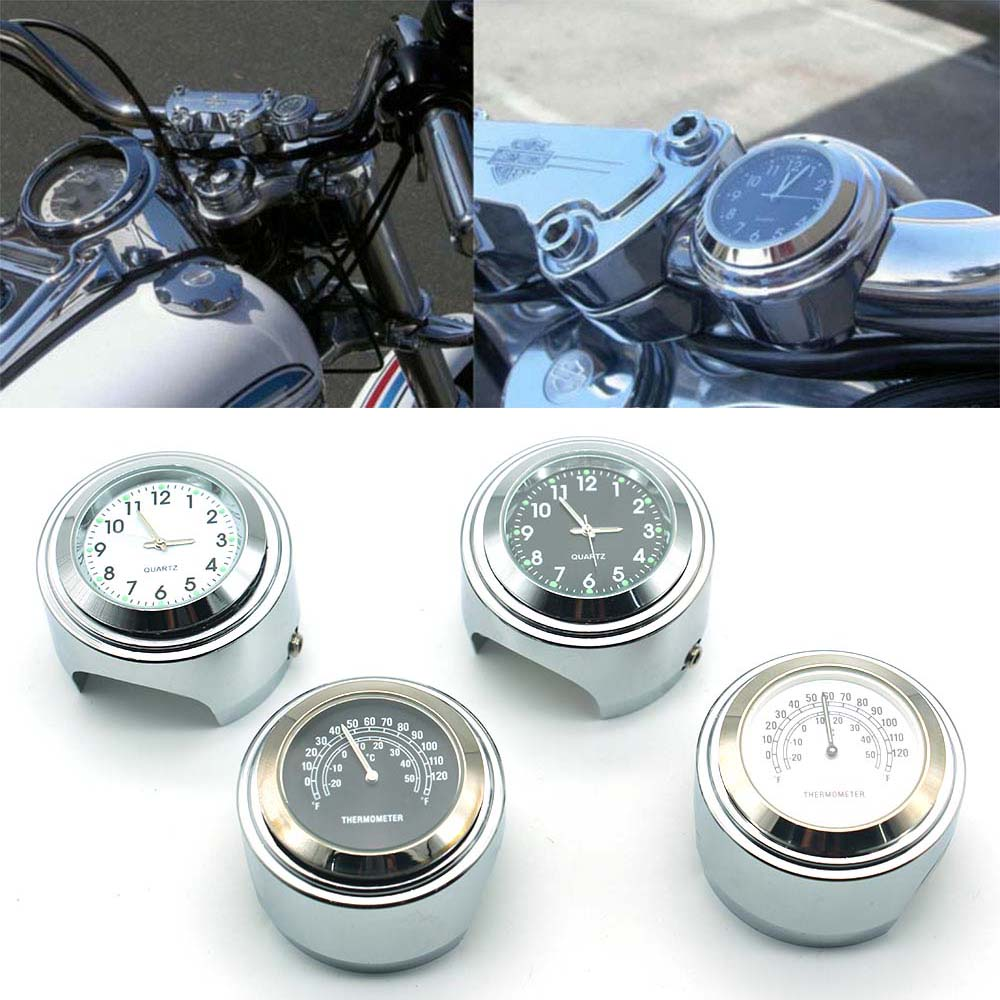 Universal Accessories Motorcycles Thermometer Clock Watch Chrome Waterproof 7/8 Motorcycle Handlebar Mount Temp