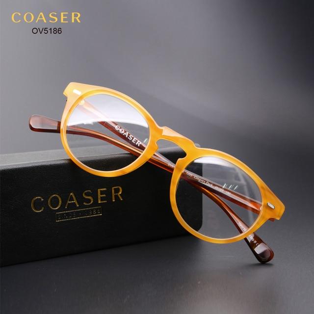 7a404fb2d05 COASER OV5186 Vintage Glasses Frame Women Men Suit Reading Computer  Prescription Optical Eyeglasses clear lens Retro