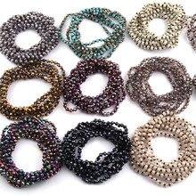 Frete grátis moda 4mm mini vidro longo atada cristal ramdom sortidas cor colares para feminino colar étnico