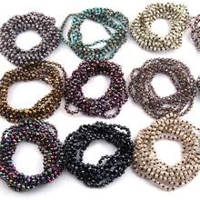 Kostenloser Versand Mode 4mm Mini Glas Lange Verknotet Kristall Ramdom Farbe Sortiert Halsketten Für Frauen Ethnische Halskette