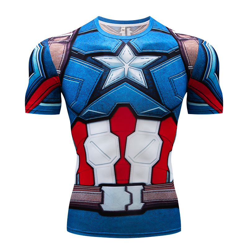 Men's T-Shirt Summer Gyms 3D Fitness Tops Captain America / Punisher / Panther Cosplay Compression Shirt Men's Brand T-Shirt