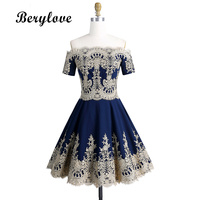 BeryLove Short Navy Homecoming Dresses With Sleeves Off Shoulder Lace Graduation Dresses 2018 Cocktail Party Dress Gowns