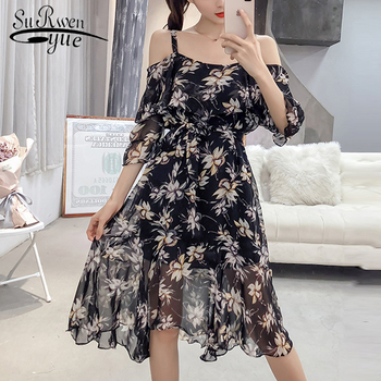 2019 fashion summer dress short sleeve sexy slash neck print chiffon women dress sweet casual knee length chiffon dress 0298 40 Платье