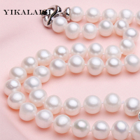 YIKALAISI 2017 100% natural Freshwater 9 10 mm pearl necklace 925 sterling silver jewelry high quality jewelry for women