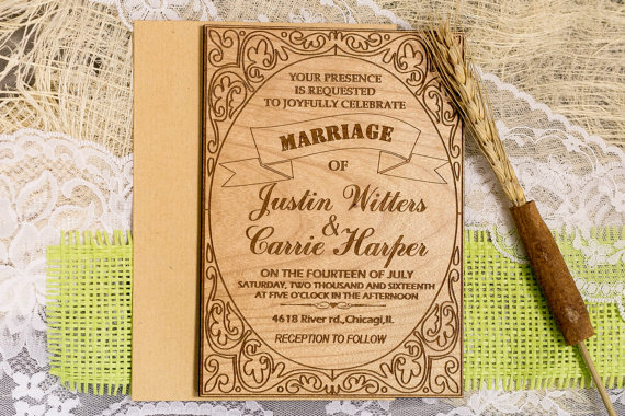 Cheap Shabby Chic Wedding Invitations: Custom Wedding Invitation Set Rustic Wedding Invitations