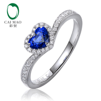 CaiMao 0.52ct Natural Heart Shape Blue Sapphire Halo Diamond 14kt White Gold Engagement Ring Exquisite