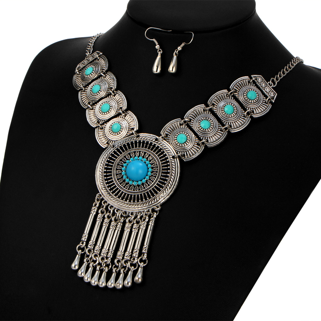 17KM Vintage Tassel Necklace Jewelry Sets For Woman Geometric Water Drop Earings Fashion Sun Stone Necklaces Statement Jewelry