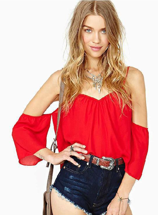 2014 nueva moda del verano caliente blusas rojas
