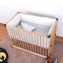 Комплект постельного белья для малышей, 4 шт., детская кроватка, хлопковые Защитные подушки, мягкий безопасный, защитный, милый, мультяшный принт, детский спальный Органайзер