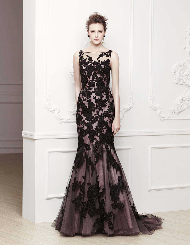 Free shipping WE 2417 Purple and black wedding dress black lace ...