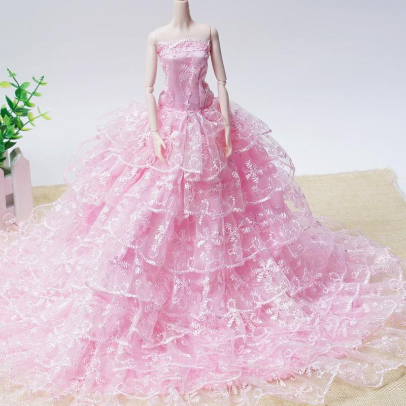 Pink And White Wedding Gowns: Dongzhur Barbie Wedding Dress Cute Pink And White Wedding