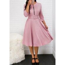 Бразильский Стиль элегантное платье Для женщин с рукавом «три четверти» с молнией с круглым вырезом Self-блузка с ремнем/для офиса; модельная Женская SJ1857U
