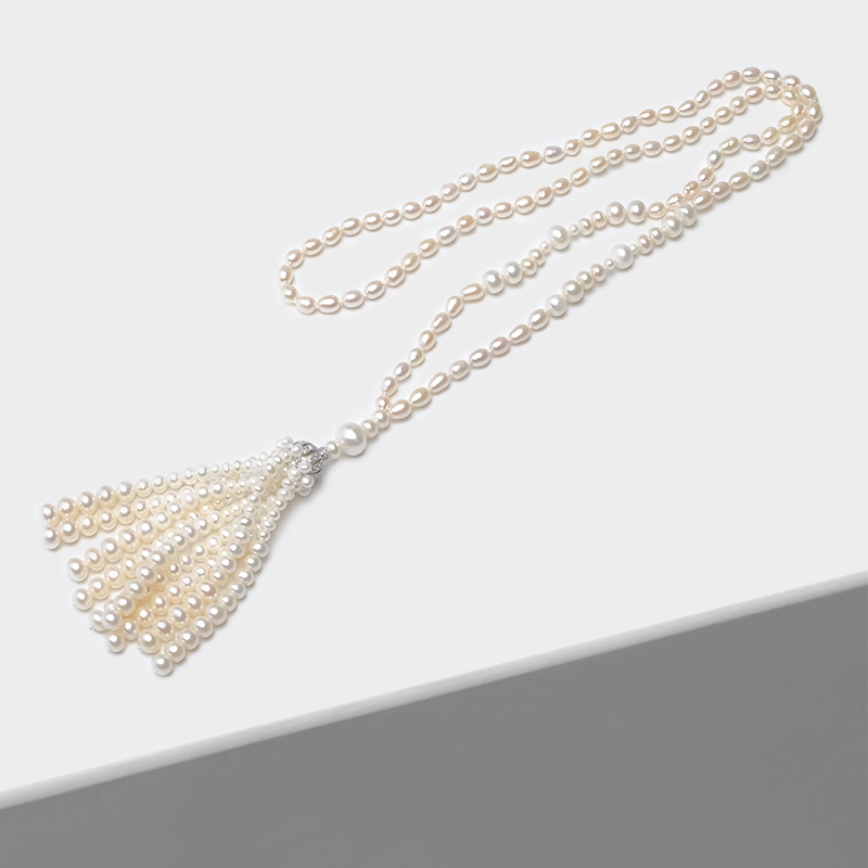 Amorita boutique Fashion natural pearl 925silver long necklace amorita boutique multi layered tassel necklace with exquisite zircon