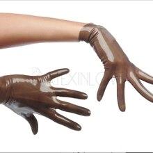 Сексуальные прозрачные коричневые латексные короткие перчатки длина запястья для женщин и мужчин подгонка для любого цвета