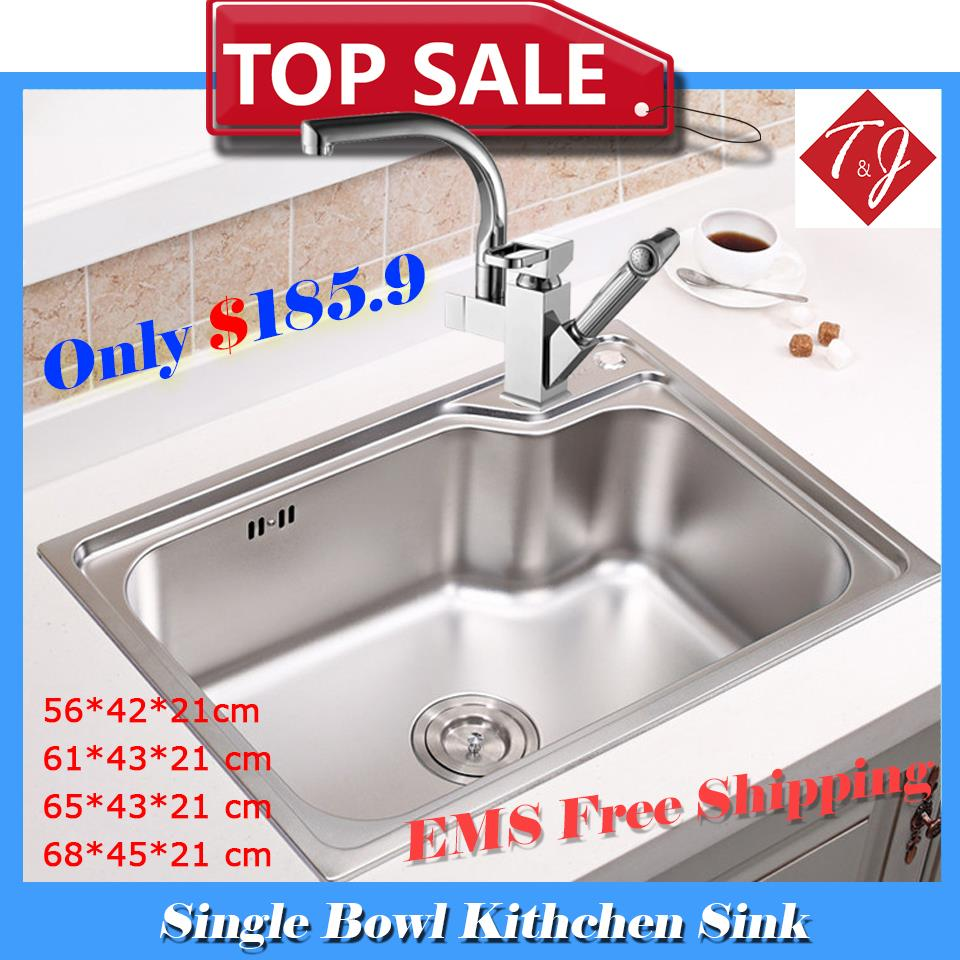 4 Sizes Single Bowl kitchen sinks stainless steel kitchen sink with pull out sink mixer tap