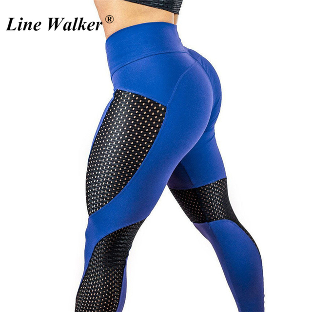 724005641f4bc8 Line Walker Mesh Hollow Out Yoga Pants Fitness Gym Women Leggings Quick Dry  Sport High Waist Push Up Elastic Plus Size Tights