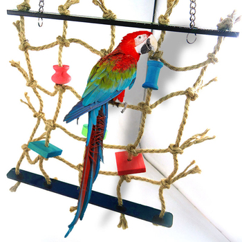 Bird Toys Rope Net Swing Stairs Parrot Cage Ladder Wooden Toys for Parrots Birds Hamster Pet Chew Hanging Climb Toy Parrot Toys