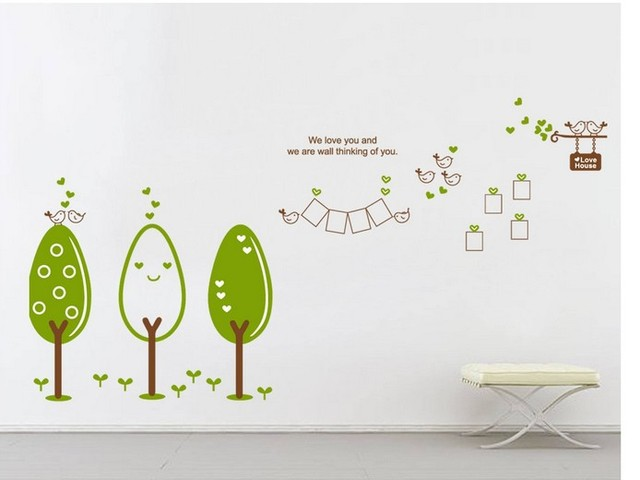 Cartoon cute trees photo frame wall stickers large family tree home ...
