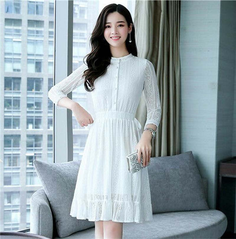 New Korean Women Lace 3 4 Sleeve Evening Party A Line Slim Short Dress in Dresses from Women 39 s Clothing