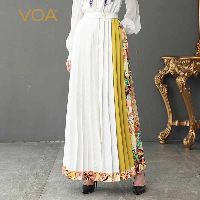 VOA Heavy Silk Boho White Wide Leg Pants Women Long Trouser Plus Size 5XL Loose Casual Beach Office Formal Basic High Waist K382