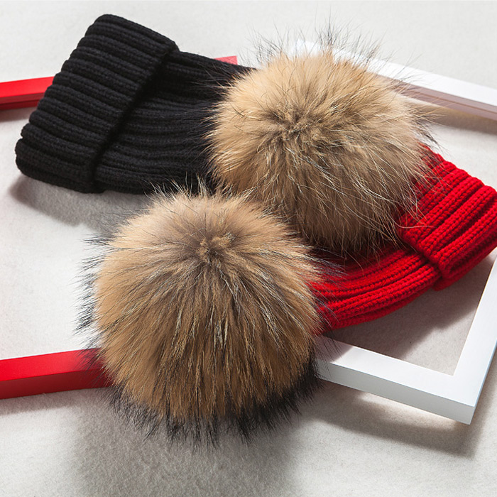 2019 Brand Winter Hat For Women High Quality Beanies Cap Real Raccoon Fur Pompom Women Hats Bonnet Femme Girls Casual Hat