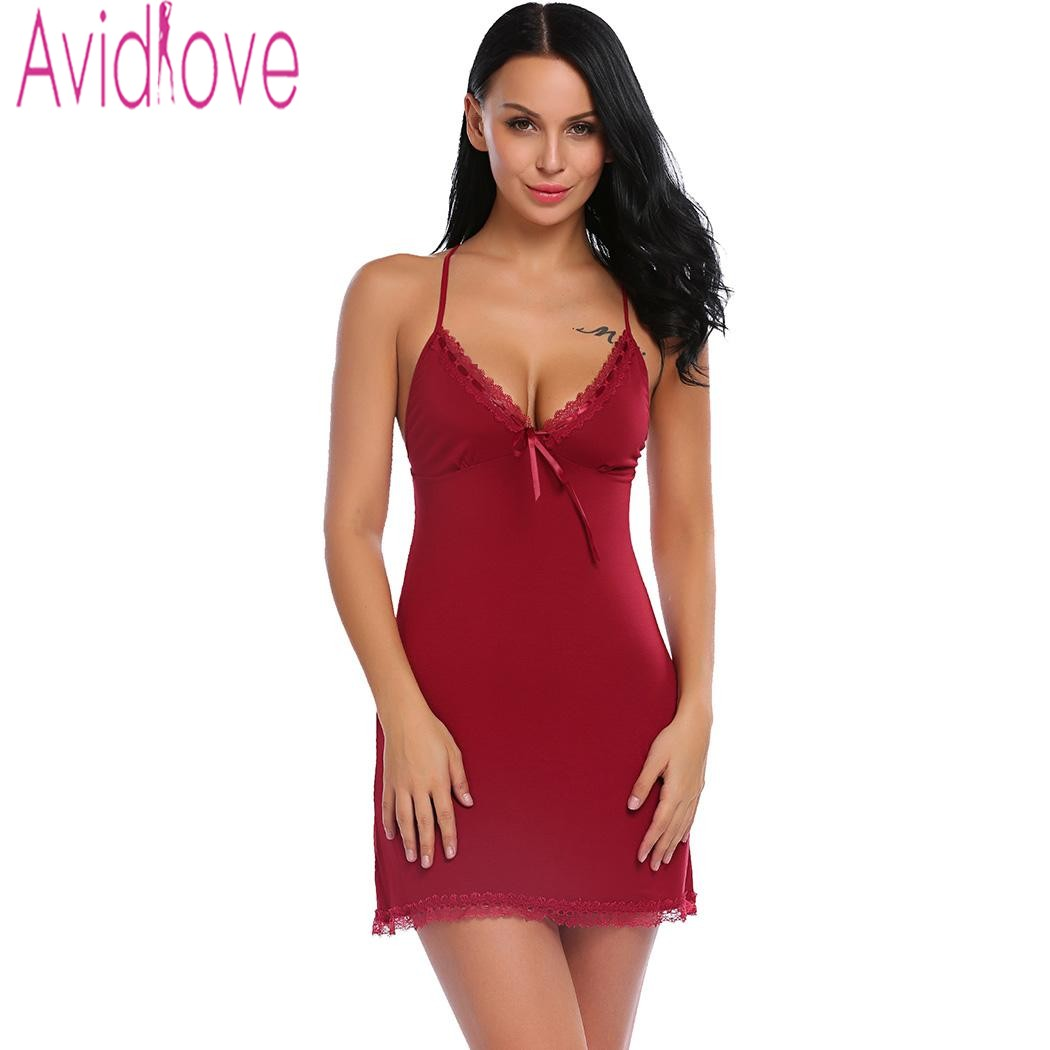 Avidlove Nightie Cotton Nightgowns Plus Size Sexy Home Wear Women's Sleepwear V-Neck Sleeveless Nightwear Female Sleep Dress 1