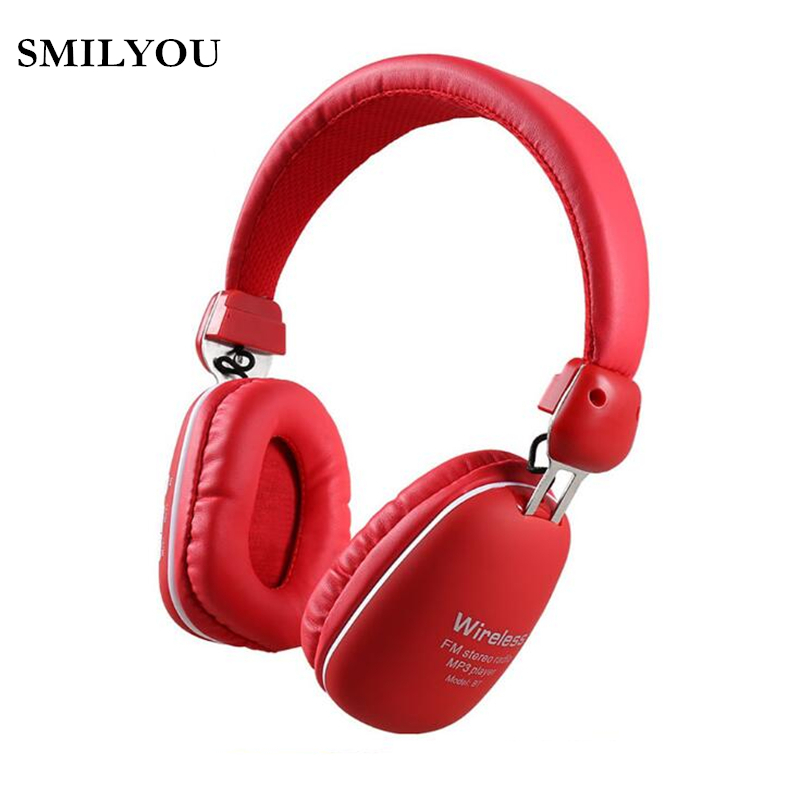 SMILYOU MS27 Wireless Bluetooth Headphones with Microphone Support TF Card FM Radio Stereo Headset for PC Samsung xiaomi Sony