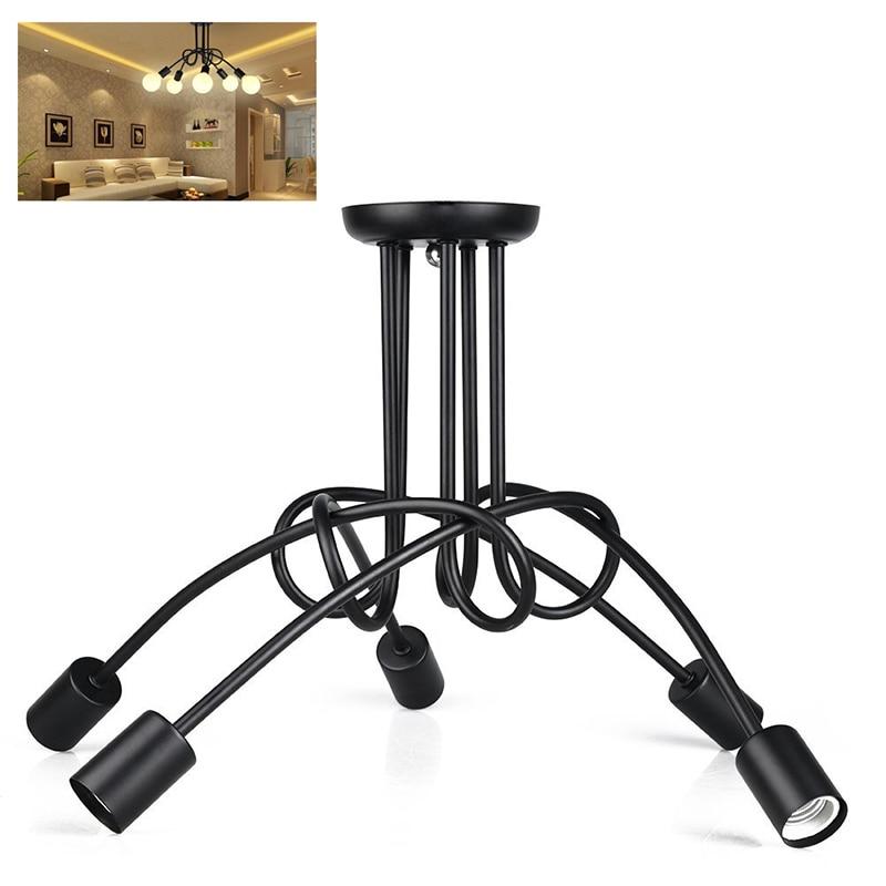 Vintage Industrial Loft Chandelier Ceiling Lamp With 5 Lights (Black)