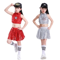 Sequins Children Hip Hop Jazz Dance Costumes Modern Dance Performance Clothing Suits Girls Stage Cheerleading Pleated Skirt