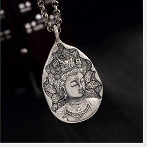 Image 3 - Uglyless Echt 999 Reinem Silber Handgemachte Bodhisattva Anhänger Halsketten keine Ketten Buddhismus Thai Silber Buddha Anhänger Wasser tropfen