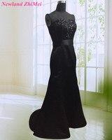 Hot Đen Sweetheart Cườm Đính Prom Dress Dài Lấp Lánh Mermaid Satin Vũ Dresses vestido de formatura longo