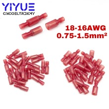 50Pcs Bullet Wire electrical Connector Male Female Crimp Insulation Nylon Cable Terminals Red FRFNY1.25-156 Car Terminator