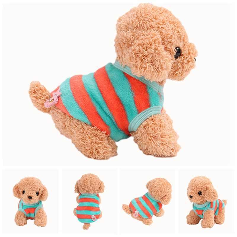 Домашняя собака теплая одежда милые мотивы из мультфильма жилеты для зимы щенок теплая Толстая рубашка коралловые бархатные жилеты товары для собак