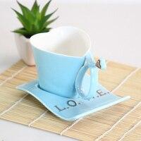 China Enamel Porcelain Saucer Spoon Coffee Tea Sets For Friend Gift Heart Shaped Blue Simple Coffee
