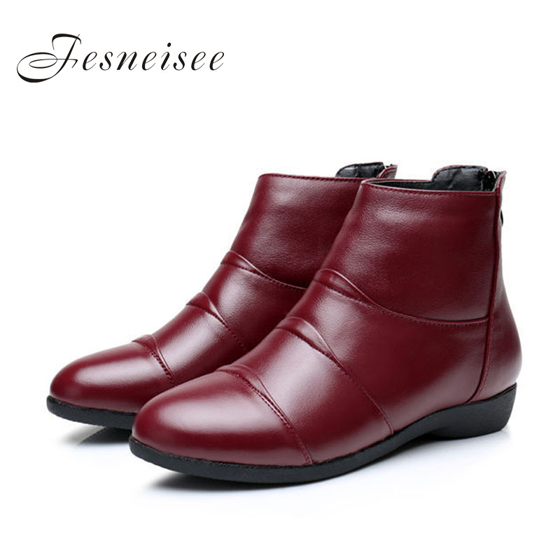 2017 New Autumn lady Winter Short Flat Heels Shoes Genuine Leather Boots Back Zipper Women Ankle Boots Plus Size41-43 for femal