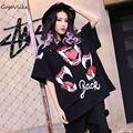 Lentejuela vampiro impresión camisa 2017 primavera agujero de la personalidad de manga corta o cuello de la camiseta femenina floja grande rojo mes impresión clothing