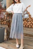 Летняя Новинка, вышитая бисером сетчатая плиссированная юбка для беременных женщин, тонкая юбка феи, корейская модная юбка для беременных