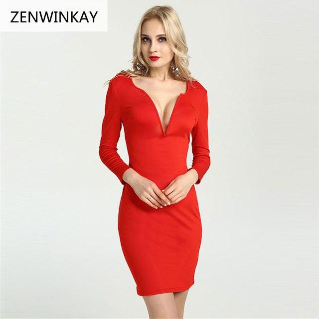 2dc1096984 2017 Outono Sexy Profundo Decote Em V Manga Comprida Boate Vestido Vermelho  Lápis Mulheres Vestidos Formais