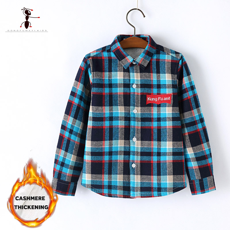Kung Fu Ant Autumn Winter Boys Shirt Turn-down Collar Classic Plaid Children Kids Shirts Blouses Plush Inside Fur Warm Thick slim fit turn down collar colored plaid lining solid color shirt for men
