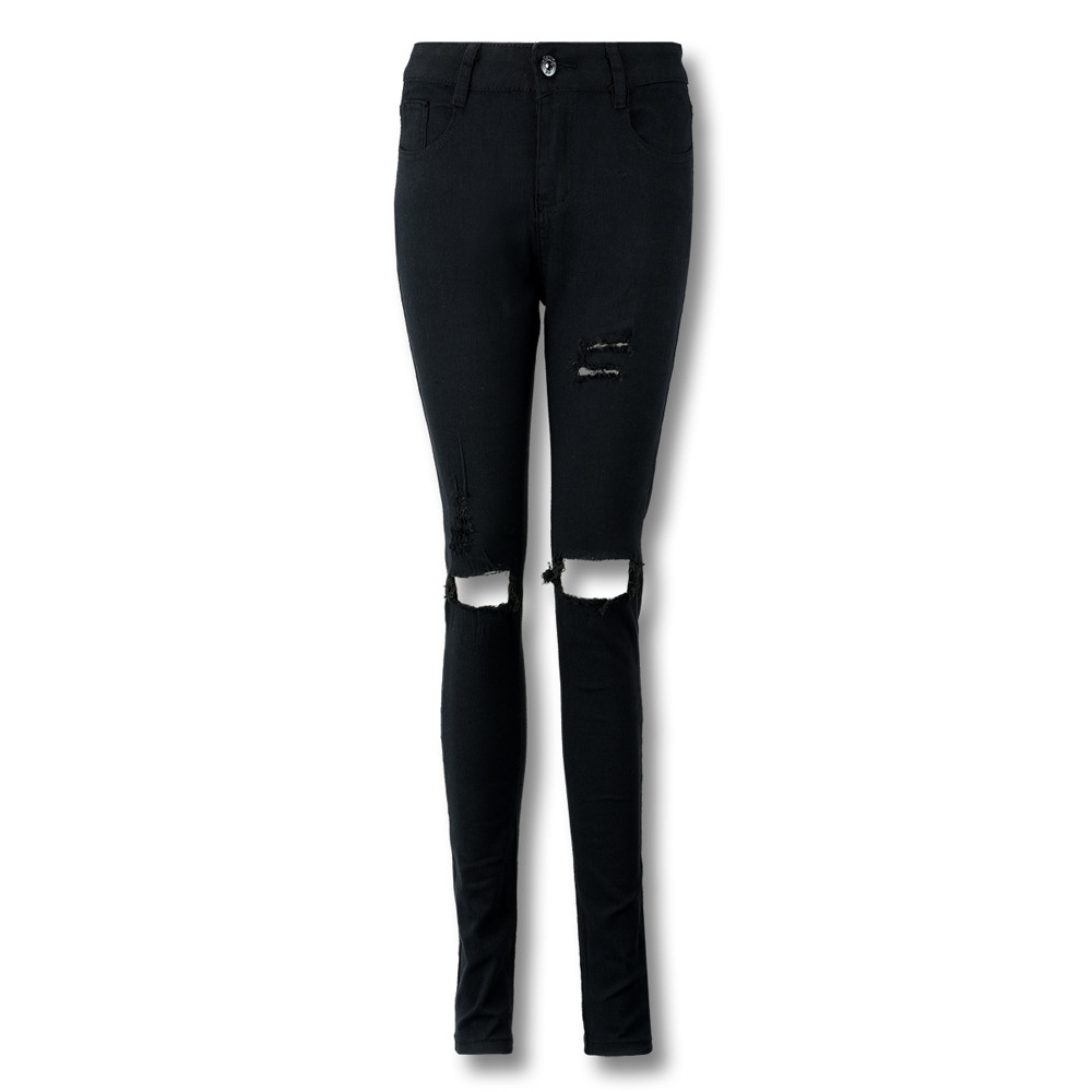 Women Cool Ripped Knee Cut Leggings Jeans High Waist Skinny Long Hole Jeans Pants Slim Pencil Plus Size Trousers Black Yl-new #4