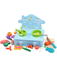 Hot Wooden Toy Kitchen Set Wooden Pretend Play Food Children Cutting Toys Tableware Colourful Fish Vegetable Toys Gift D34