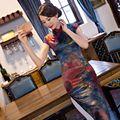 Горячие Продажи Традиционный Китайский Стиль Cheongsam Платье Классический женщин Шелковый Атлас долго Qipao Платье Размер Sml XL XXL XXXL 246085