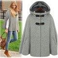 2016 Европа моды шерстяное пальто осень женщины куртка зима пончо плюс размер женщина свободный с капюшоном плащ плащ пальто