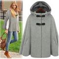 2016 Europe fashion  wool coat autumn women jacket winter poncho plus size female loose hooded cape cloak coat overcoat
